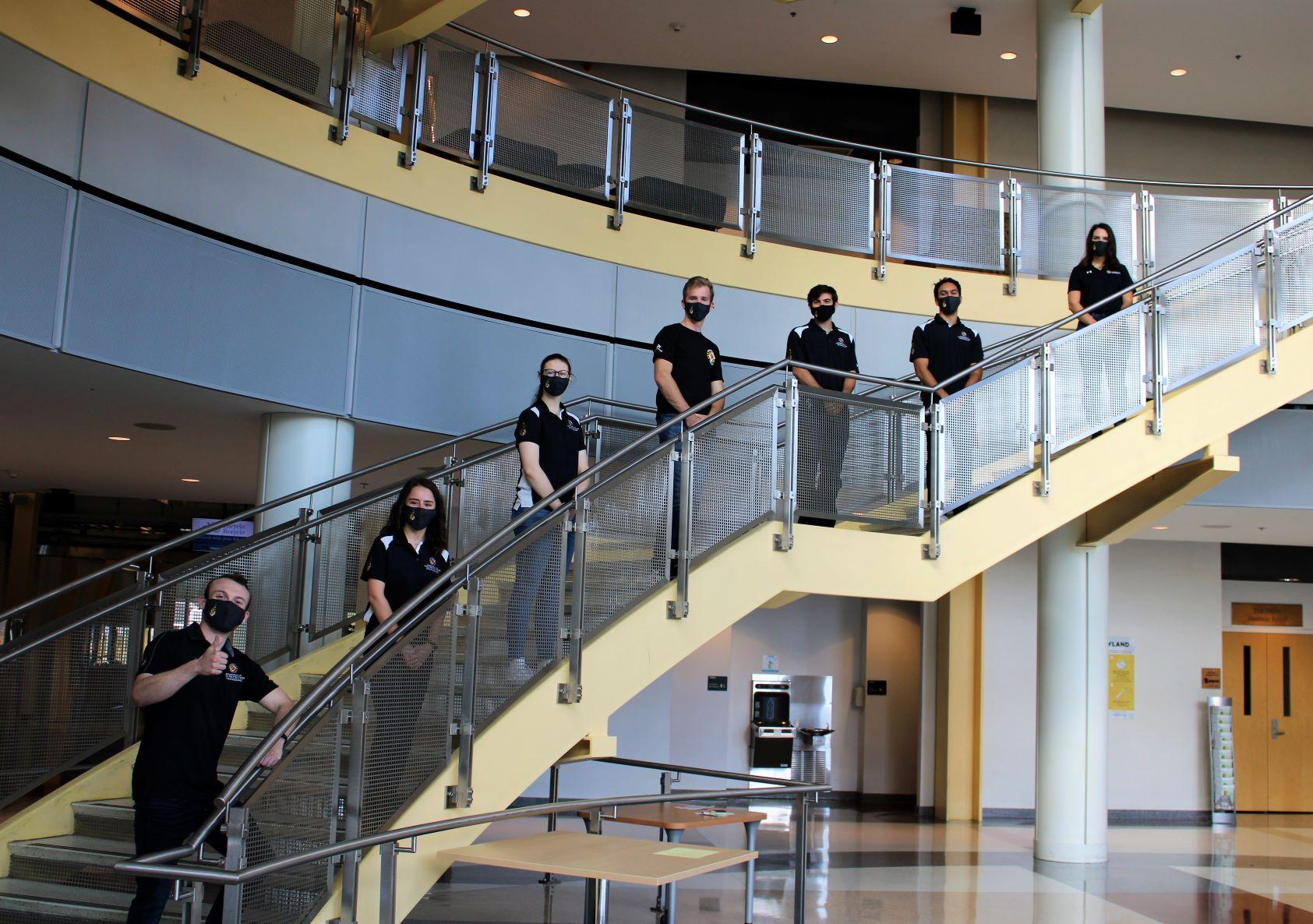 FPE undergrad ambassadors on Kim building staircase