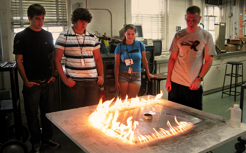 students participating in a fire experiment